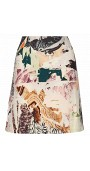 Collage-Print Wool-Blend A-Line Skirt