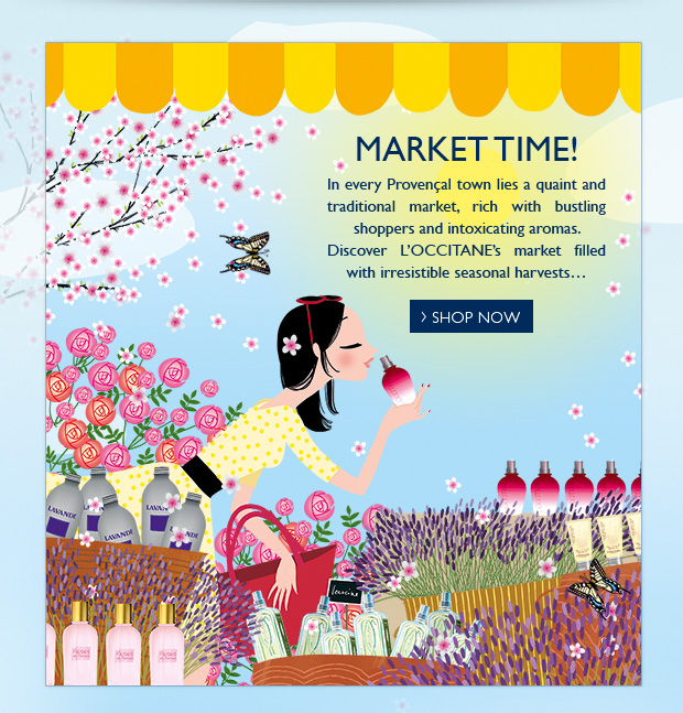 Market Time! In every Provençal town lies a quaint and traditional market, rich with bustling shoppers and intoxicating aromas.  Discover L'OCCITANE's market filled with irresistible seasonal harvests…