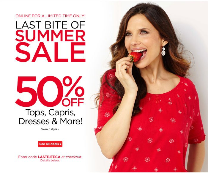 Last Bite of Summer: 50% Off Tops, Capris, Dresses, and More!