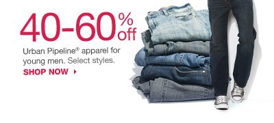 40-60% off Urban Pipeline apparel for young men. Select styles. SHOP NOW