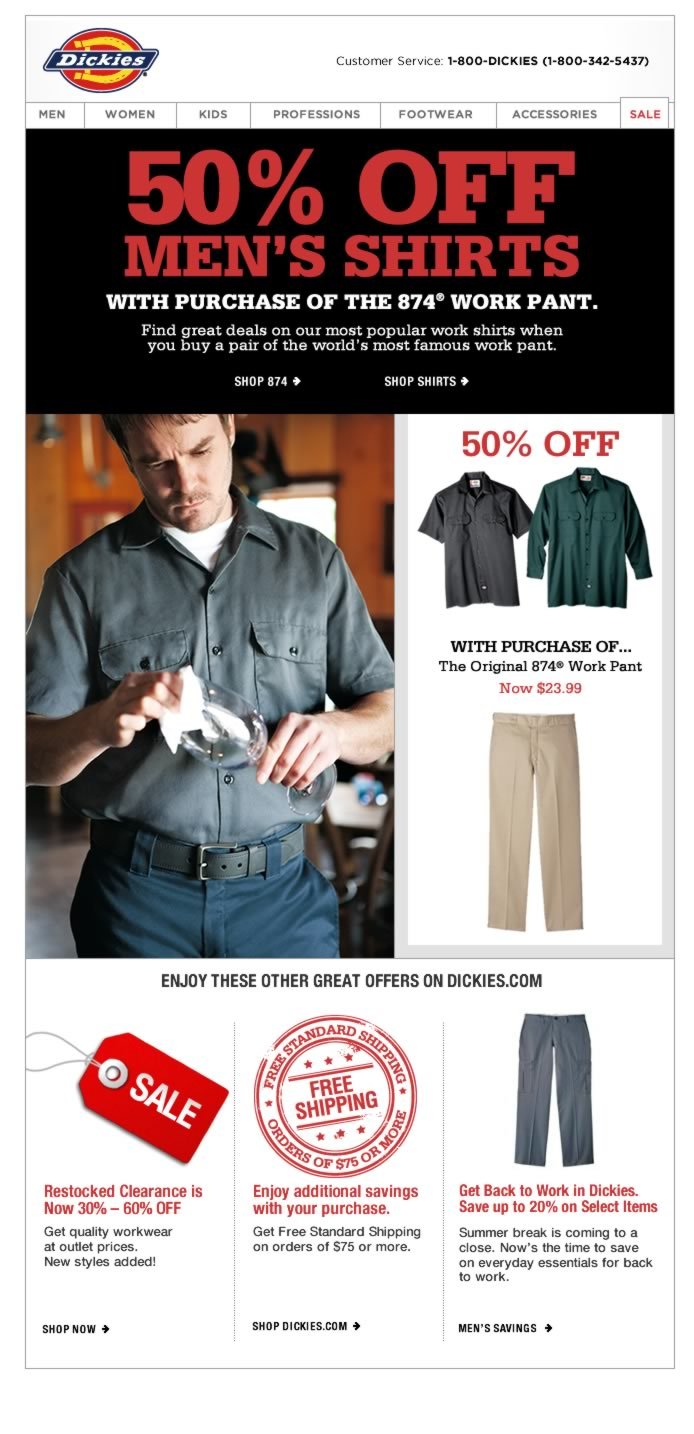GET 50% OFF MEN'S SHIRTS WITH PURCHASE OF THE 874® WORK PANT