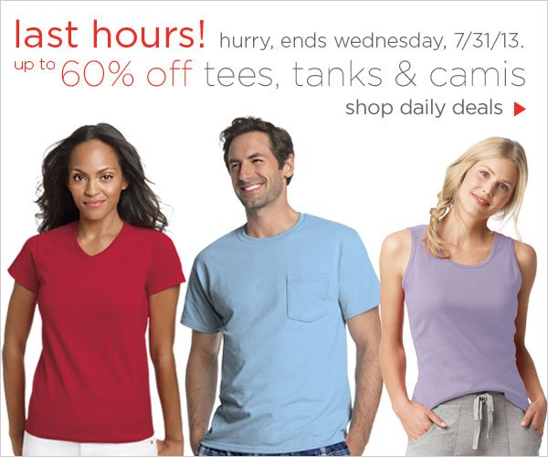 Up to 60% off  tees, tanks & camis daily deals