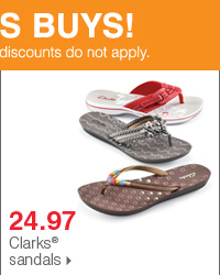 Shop over 55 Bonus Buys! 24.97 Clarks® sandals.