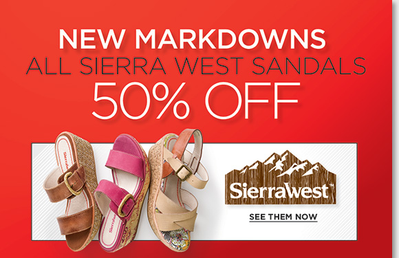 Find NEW markdowns and save big on your favorite Sierra West styles, ALL sandals now 50% off! Plus, save on 100's of more styles from your favorite brands including Dansko, ECCO, ABEO and more during our Summer Sale! Shop now to find the best selection online and in stores at The Walking Company.