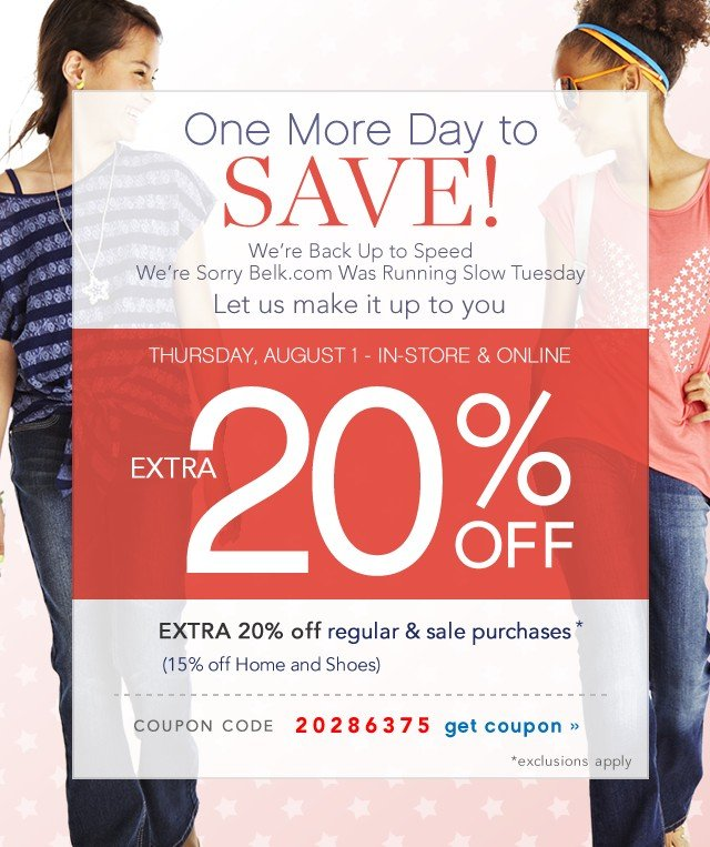 One More Day to Save! Extra 20% off. Get coupon.