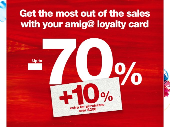 Get the most out of the sales with your amig@ loyalty card