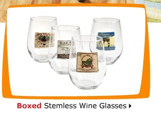 Boxed Stemless Wine Glasses