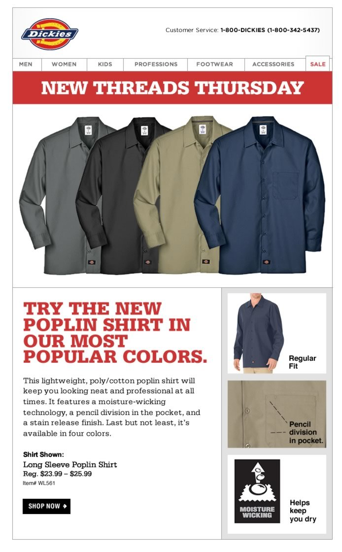 New Threads Thursday: Long Sleeve Poplin Shirt. This lightweight, poly/cotton poplin shirt will keep you looking neat and professional at all times. It features a moisture-wicking technology, a pencil division in the pocket, and a stain release finish.