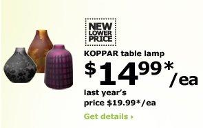 KOPPAR table lamp $14.99*/ea