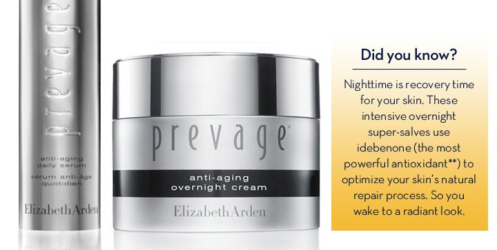 Did you know? Nighttime is recovery time for your skin. These intensive overnight super salves use idebenone (the most powerful antioxidant**) to optimize your skin's natural repair process. So you wake to a radiant look.