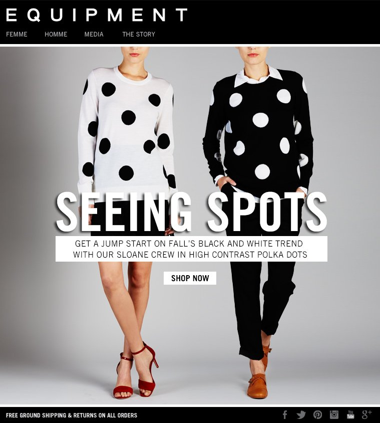 SEEING SPOTS GET A JUMP START ON FALL'S BLACK AND WHITE TREND WITH OUR SLOANE CREW IN HIGH CONTRAST POLKA DOTS SHOP NOW