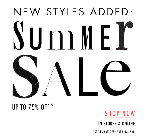 Summer Sale up to 75% Off!