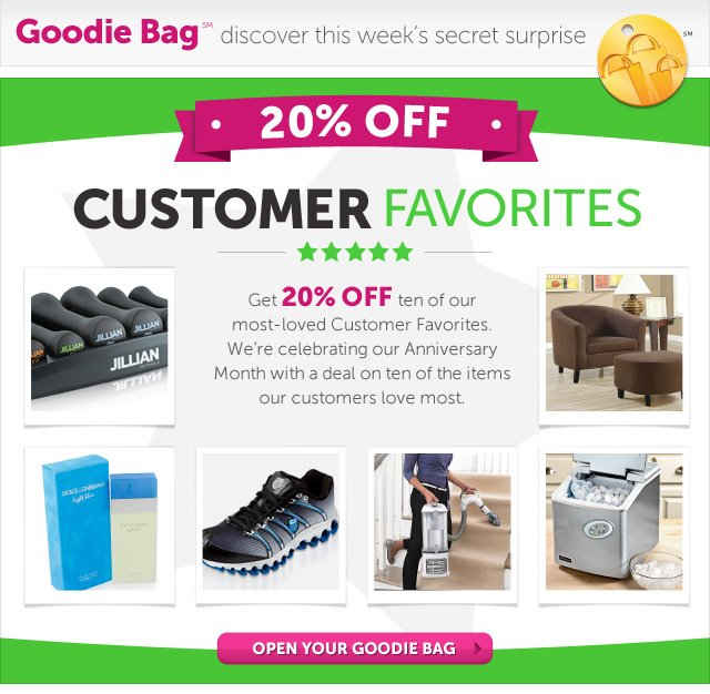Customer Favorites - Get 20% OFF ten of our most-loved Customer Favorites. We're celebrating our Anniversary Month with a deal on ten of the items our customers love most. - Open Your Goodie Bag