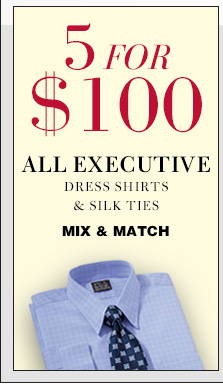 5 for $100 USD - Executive Dress Shirts & Silk Ties