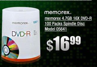 memorex 4.7GB 16X DVD-R 100 Packs Spindle Disc Model 05641