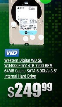 Western Digital WD SE WD4000F9YZ 4TB 7200 RPM 64MB Cache SATA 6.0Gb/s 3.5 inch Internal Hard Drive
