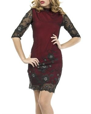 Via Bellucci Sheer Lace Overlay Dress Made in Europe