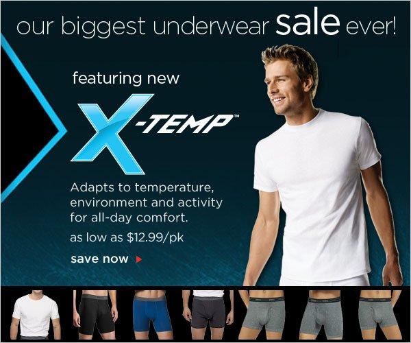 Biggest Underwear Sale Ever featuring X-TEMP $12.99/pack