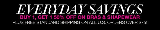 Everyday Savings: Buy 1, Get 1 50% Off On Bras and Shapewear Plus Free Standard Shipping on All U.S. Orders Over $75!