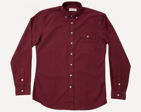 Garment-Dyed Shirt in Crimson