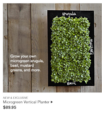NEW & EXCLUSIVE -- Grow your own microgreen arugula, basil, mustard greens, and more. -- Microgreen Vertical Planter, $89.95