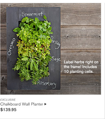 EXCLUSIVE -- Label herbs right on the frame! Includes 10 planting cells. -- Chalkboard Wall Planter, $139.95