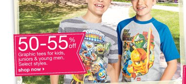 50-55% off Graphic tees for kids, juniors & young men. Select styles. shop now