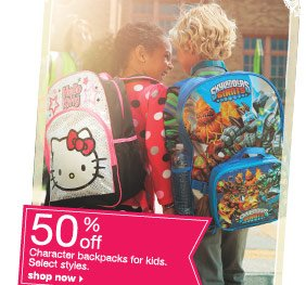 50% off Character backpacks for kids. Select styles. shop now