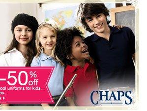 45-50% off Chaps school uniforms for kids. Select styles. shop now