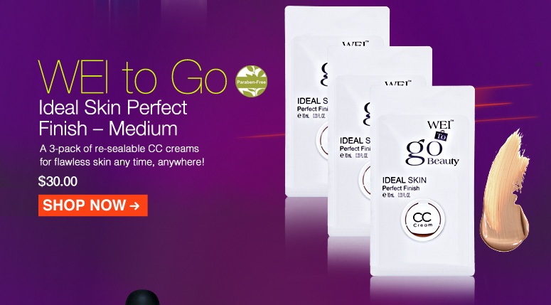Paraben-free WEI to Go Ideal Skin Perfect Finish – Medium A 3-pack of re-sealable CC creams for flawless skin any time, anywhere! $30.00 Shop Now>>
