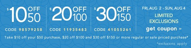$10off$50/$20OFF$100/$30OFF$150. Get coupon.
