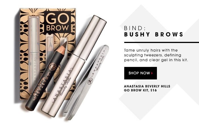 BIND: BUSHY BROWS. Tame unruly hairs with the sculpting tweezers, defining pencil, and clear gel in this kit. SHOP NOW. Anastasia Beverly Hills Go Brow Kit, $16