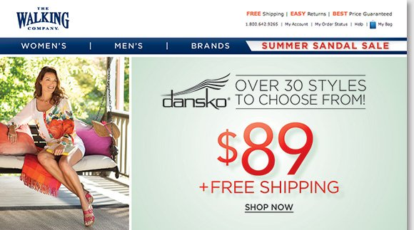 Enjoy FREE Shipping and save on over 30+ great Dansko sandal styles, including the 'Sophie' and 'Sandi' from the popular 'Sausalito' Collection, now just $89!* Plus, save on more great styles during our Summer Sandal Sale. Find the best selection when you shop online and in-stores at The Walking Company.
