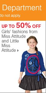 Shop Bonus Buys throughout the Kids' Department. Up to 50% off girls' fashions from Miss Attitude and Little Miss Attitude.