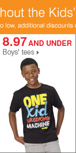Shop Bonus Buys throughout the Kids' Department. 8.97 and under boys' tees.