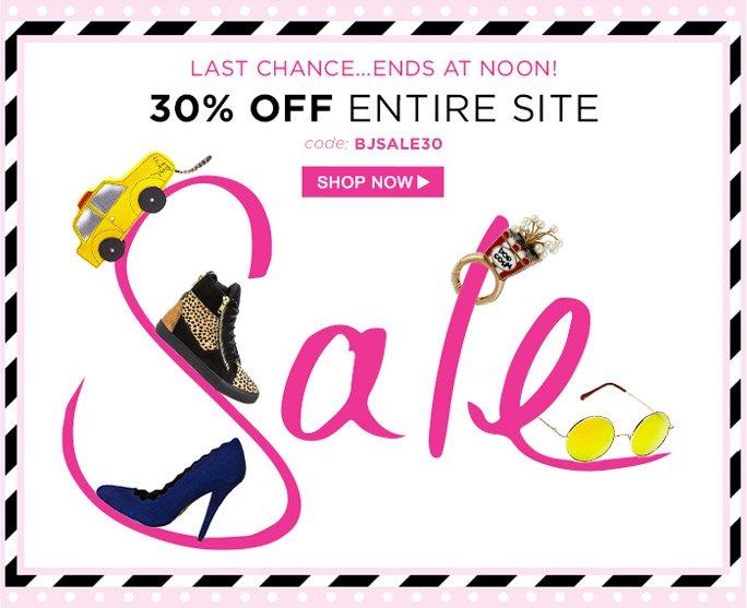 Last Chance! 30% Off Entire Site!e