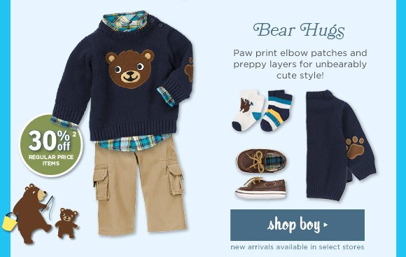 Bear Hugs. Paw print elbow patches and preppy layers for unbearably cute styles! Shop Boy. 30% off regular price items(2). New arrivals available in select stores.