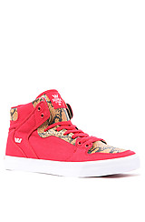 Vaider Sneaker in Red Canvas & Snakeskin Embossed Leather