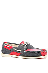AO 2Eye Handpainted Boat Shoe in Navy Red