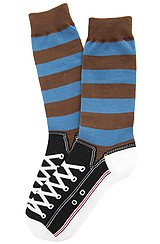 Rugby Sneaker Socks in Brown & Blue