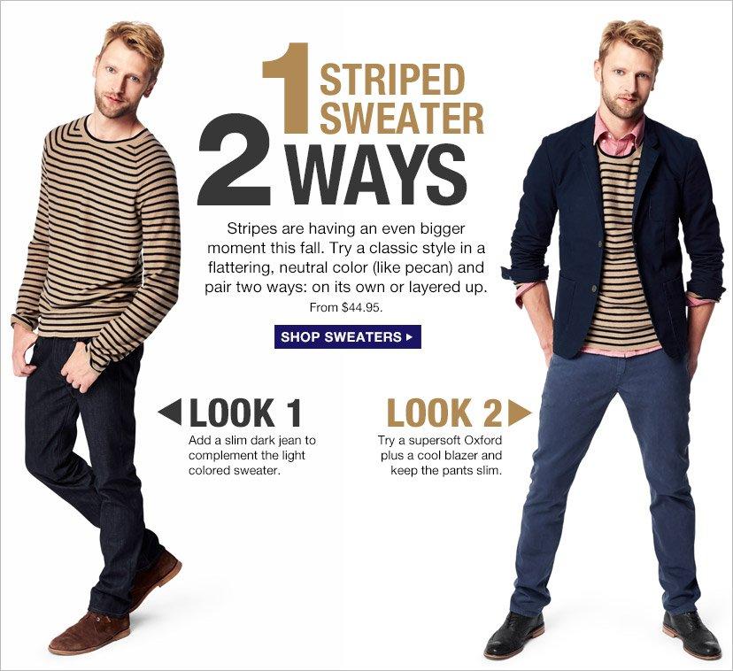 1 STRIPED SWEATER 2 WAYS | SHOP SWEATERS