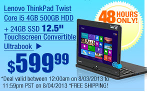 "$599.99 -- Lenovo ThinkPad Twist Core i5 4GB 500GB HDD + 24GB SSD 12.5"" Touchscreen Convertible Ultrabook"