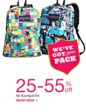 25-55% off All backpacks. shop now.