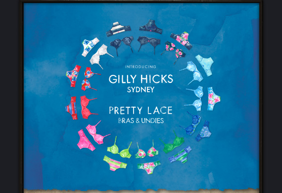 INTRODUCING GILLY HICKS  SYDNEY PRETTY LACE BRAS & UNDIES