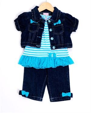 Nannette Girl Denim Three-Piece Set