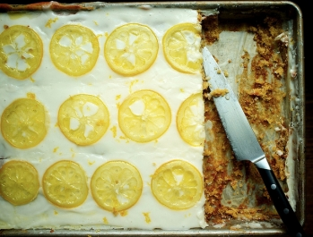 Gluten-Free Candied Lemon Sheet Cake