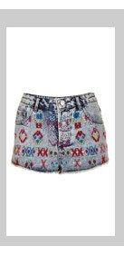 MOTO Aztec Embroidery Hotpants