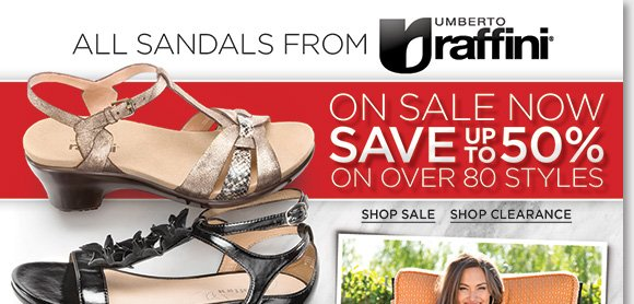 Stylish and comfortable, ALL Raffini Sandals are now on sale! Save up to 50% on over 80 great styles from casual to dress. Plus save on 100's of more styles from more of your favorite brands during our Summer Sandal Sale. Shop now to find the best selection at The Walking Company.