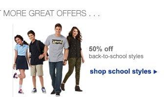 50% off back-to-school styles | shop school styles