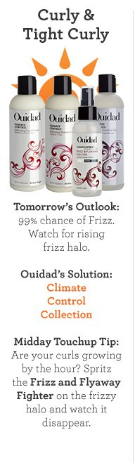Curly and Tight Curly. Tomorrow's Outlook: 99% chance of Frizz. Watch for rising frizz halo. Ouidad's Solution: Climate Control Collection. Midday Touchup Tip: Are your curls growing by the hour? Spritz the Frizz and Flyaway Fighter on the frizzy halo and watch it disappear.